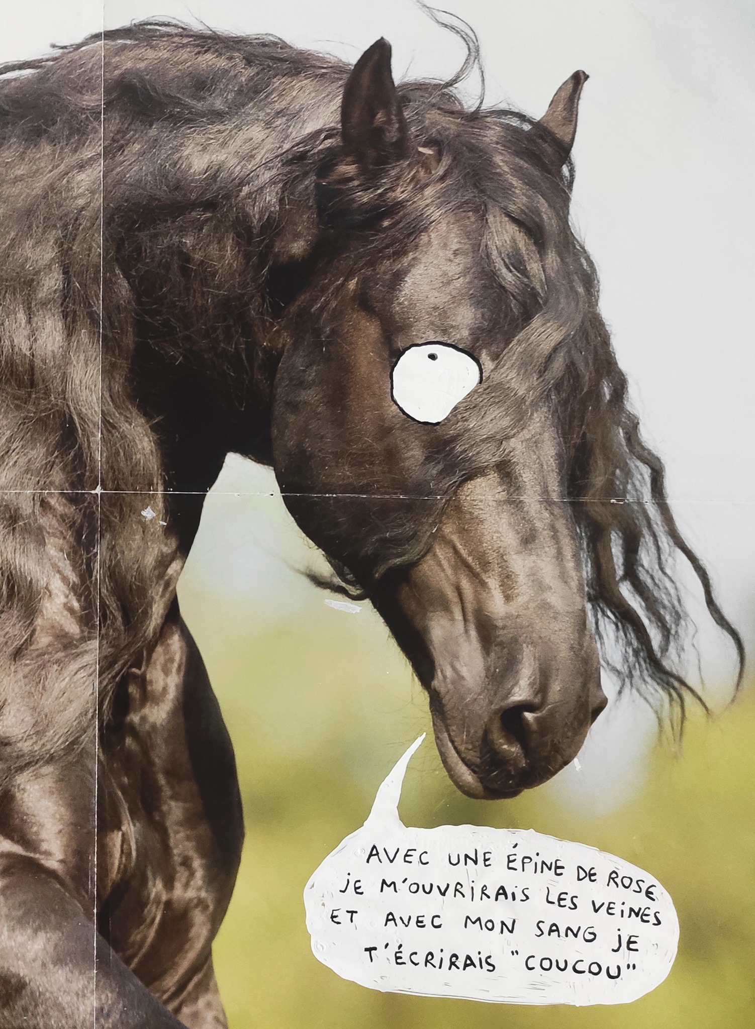 cheval-nils-bertho-artiste-underground-dessin-tableau-oeuvre-rottring-art-créature-monstre-imaginaire-figuratif-minutieux-original